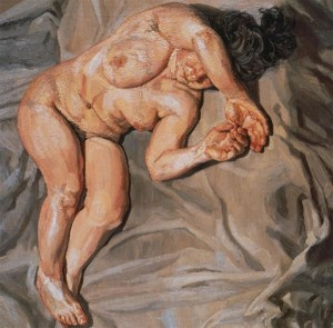 Lucian Freud woman holding thumb
